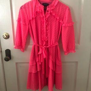 Saloni Pink Tilly Ruffle Dress SIZE US 4